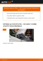 Kaip pakeisti VW Caddy 3 Kombi variklio alyvos ir alyvos filtra - keitimo instrukcija
