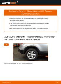 Wie der Wechsel durchführt wird: Federn 1.5 dCi Nissan Qashqai j10 tauschen