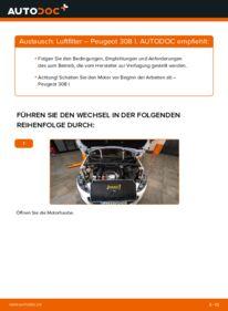 Wie der Wechsel durchführt wird: Luftfilter 1.6 HDi Peugeot 308 I tauschen