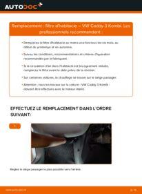 Comment effectuer un remplacement de Filtre d'Habitacle sur 1.9 TDI VW Caddy 3