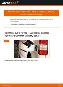Kaip atlikti keitimą: 1.9 TDI VW Caddy 3 Kuro filtras