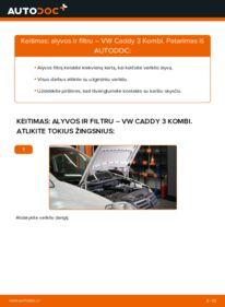 Kaip atlikti keitimą: 1.9 TDI VW Caddy 3 Alyvos filtras