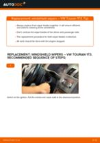 How to change front windshield wipers on VW Touran 1T3 – replacement guide