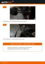 Hur byter man och justera Vindrutetorkare AUDI A3: pdf instruktioner