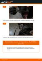 Como mudar e ajustar Escovas do limpa parabrisas AUDI A3: tutorial pdf