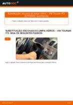Como mudar escovas do limpa vidros da parte traseira em VW Touran 1T3 - guia de substituição