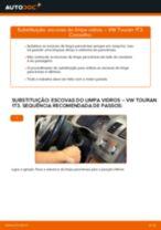 Como mudar escovas do limpa vidros da parte dianteira em VW Touran 1T3 - guia de substituição