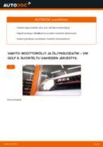Kuinka vaihtaa moottoriöljy ja öljynsuodatin VW Golf 6-autoon – vaihto-ohje