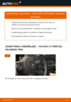 Udskift viskerblade for - VW Golf 6   Brugeranvisning