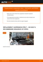 How to change front suspension strut on VW Golf 6 – replacement guide