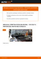 Kako zamenjati avtodel vzmetna noga (blazilnik) spredaj na avtu VW Golf 6 – vodnik menjave