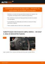 Como mudar escovas do limpa vidros da parte dianteira em VW Golf 6 - guia de substituição