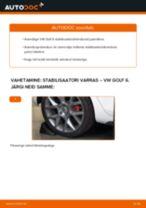 Paigaldus Stabilisaatori otsavarras VW GOLF VI (5K1) - samm-sammuline käsiraamatute