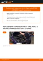 How to change front suspension strut on Opel Astra G F48 – replacement guide
