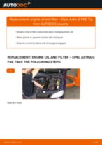 How to change engine oil and filter on Opel Astra G F48 – replacement guide