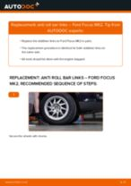 PDF replacement tutorial: Sway bar links FORD Focus II Saloon (DB_, FCH, DH) rear and front