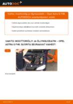 Kuinka vaihtaa moottoriöljy ja öljynsuodatin Opel Astra G F48-autoon – vaihto-ohje
