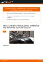 Kako zamenjati avtodel vzmetna noga (blazilnik) spredaj na avtu Ford Focus MK2 – vodnik menjave