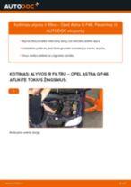 Kaip pakeisti Opel Astra G F48 variklio alyvos ir alyvos filtra - keitimo instrukcija