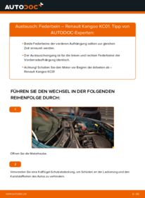 Wie der Wechsel durchführt wird: Stoßdämpfer D 65 1.9 Renault Kangoo KC tauschen