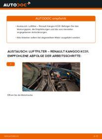 Wie der Wechsel durchführt wird: Luftfilter D 65 1.9 Renault Kangoo kc01 tauschen