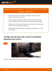 Wie der Wechsel durchführt wird: Innenraumfilter 1.6 16V (F08, F48) Opel Astra G CC tauschen