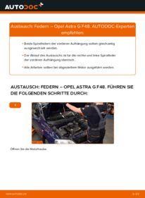 Wie der Wechsel durchführt wird: Federn 1.6 16V (F08, F48) Opel Astra G CC tauschen