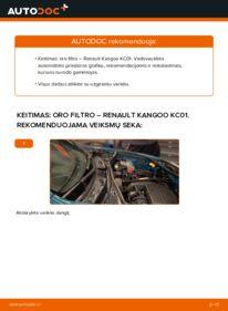 Kaip atlikti keitimą: D 65 1.9 Renault Kangoo kc01 Oro filtras