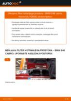 Kako zamenjati avtodel filter notranjega prostora na avtu BMW E46 cabrio – vodnik menjave