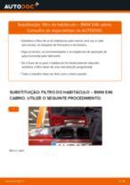 Manual online sobre a substituição de Filtro de ar do habitáculo em BMW 3 Convertible (E46)