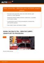Kā nomainīt: salona gaisa filtru BMW E46 cabrio - nomaiņas ceļvedis