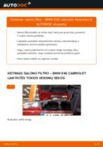 Kaip pakeisti BMW E46 cabriolet salono filtro - keitimo instrukcija