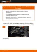 Fitting Stabilizer bushes HONDA ACCORD VIII (CU) - step-by-step tutorial