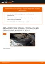 How to change front coil springs on Toyota Aygo AB1 – replacement guide