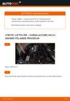 Bilmekanikers rekommendationer om att byta HONDA Honda Accord VIII CU 2.2 i-DTEC (CU3) Bromsbelägg