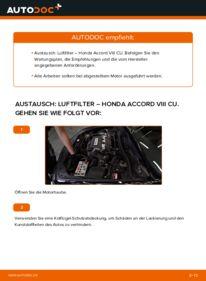 Wie der Wechsel durchführt wird: Luftfilter 2.0 i (CU1) Honda Accord VIII CU tauschen