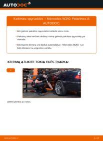 Kaip atlikti keitimą: E 300 3.0 Turbo Diesel (210.025) Mercedes W210 Spyruoklės