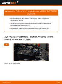 Wie der Wechsel durchführt wird: Stoßdämpfer 2.0 i (CU1) Honda Accord VIII CU tauschen