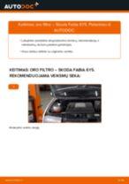 Kaip pakeisti Skoda Fabia 6Y5 oro filtro - keitimo instrukcija