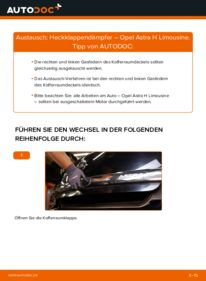 Wie der Wechsel durchführt wird: Heckklappendämpfer 1.6 (L69) Opel Astra H Limousine tauschen