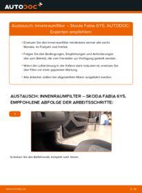 Wie der Wechsel durchführt wird: Innenraumfilter 1.4 16V Skoda Fabia 6Y5 tauschen