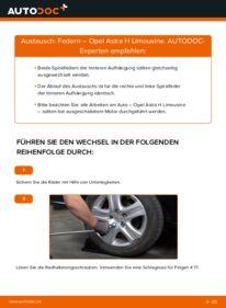 Wie der Wechsel durchführt wird: Federn 1.6 (L69) Opel Astra H Limousine tauschen