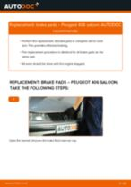 Fitting Disk brake pads PEUGEOT 406 (8B) - step-by-step tutorial