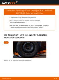 Wie der Wechsel durchführt wird: Spurstangenkopf 2.0 HDI 110 Peugeot 406 Limousine tauschen