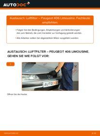 Wie der Wechsel durchführt wird: Luftfilter 2.0 HDI 110 Peugeot 406 Limousine tauschen