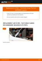 How to replace and adjust Air Filter FIAT DOBLO: pdf tutorial