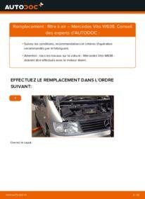 Comment effectuer un remplacement de Filtre à Air sur 112 CDI 2.2 (638.194) Mercedes W638 Bus