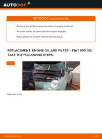 How to carry out replacement: Oil Filter on 1.2 Fiat 500 312