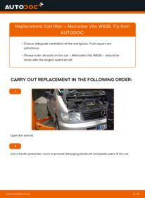 How to carry out replacement: Fuel Filter on 112 CDI 2.2 (638.194) Mercedes W638 Minibus