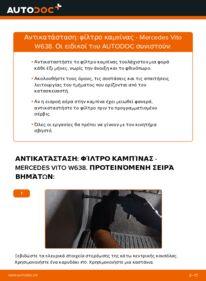 Πώς να πραγματοποιήσετε αντικατάσταση: Φίλτρο αέρα εσωτερικού χώρου σε 112 CDI 2.2 (638.194) Mercedes W638 Microbus